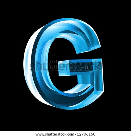 letter G in blue glass 3D