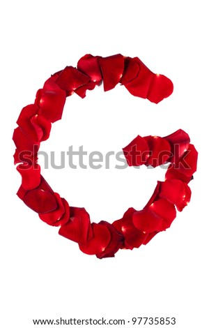 Letter G made of roses petals from flower alphabet