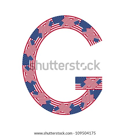 Letter G made of USA flags