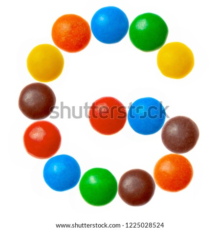 Letter G of sweet colored candies, alphabet isolated on white background #1225028524