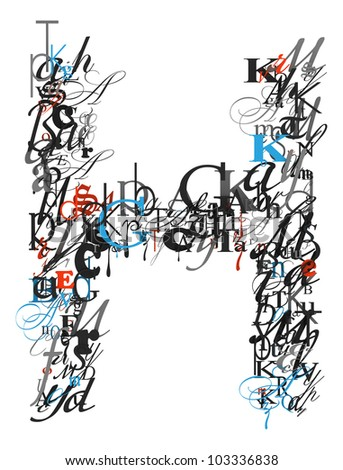 h letter in different style  stock-photo-letter-h-alphabet...