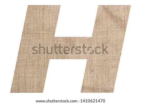 Letter H alphabet with burlap texture on white background #1410621470