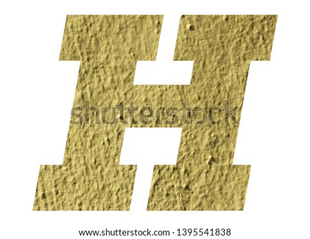 Letter H alphabet  with yellow wall on white background #1395541838