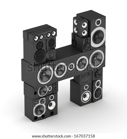 Letter H from black hi-fi speakers sound systems  in isometry