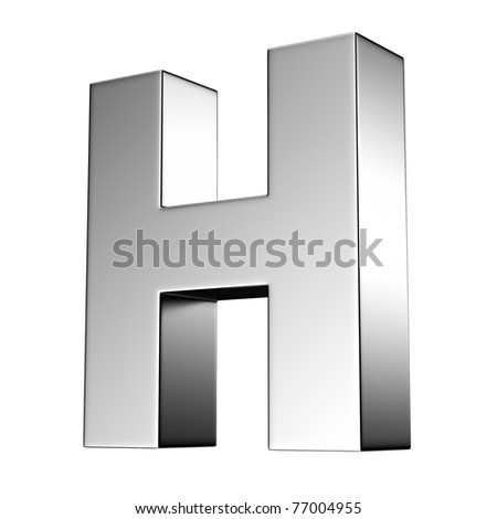 Letter H from chrome solid alphabet. There is a clipping path