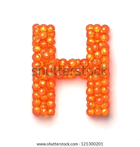 Letter H from red caviar alphabet isolated on white background Foto stock ©