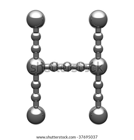 stock photo Letter H from steel atom alphabet There is a clipping path