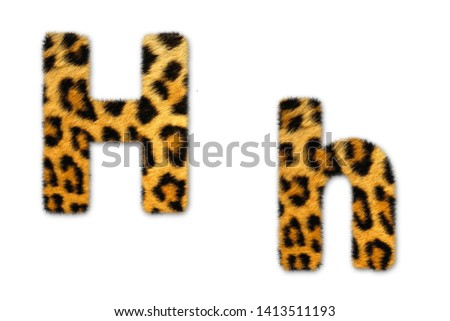 Letter h from tiger style fur alphabet. Isolated on white background . #1413511193