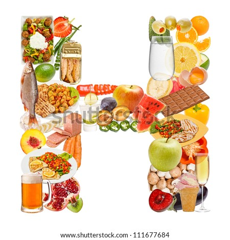Letter H made of food isolated on white background