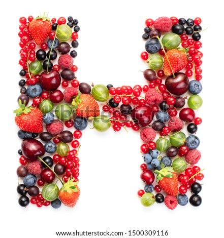 letter H made of fresh ripe berry fruits isolated on white background, berry alphabet #1500309116