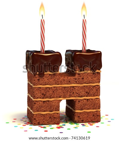 letter H shaped chocolate birthday cake with lit candle and confetti isolated over white background 3d illustration