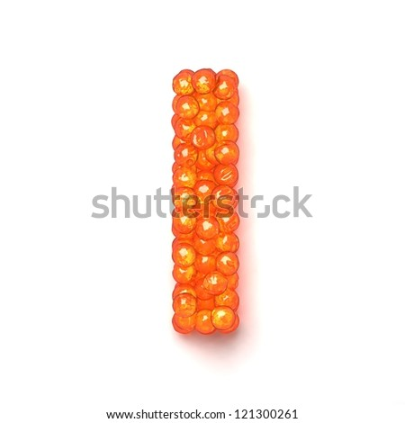 Letter I from red caviar alphabet isolated on white background