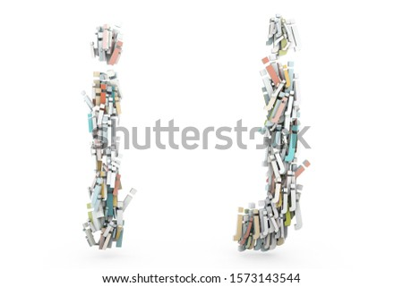 Letter I, Letter J. Letters A B made of small characters. Random multicolor letters set. English alphabet 3D rendering. Pastel colors. Creative letters set isolated on white background.