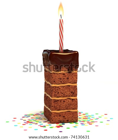 letter I shaped chocolate birthday cake with lit candle and confetti isolated over white background 3d illustration
