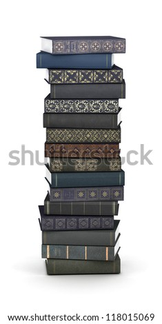 Letter I, stacked from many  books in pile
