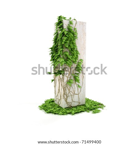 Letter I threads covered with ivy isolated on white background.