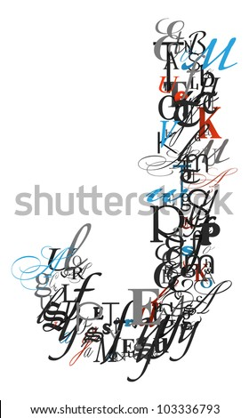 Letter J In Different Style 280 x 470. blue letters j .
