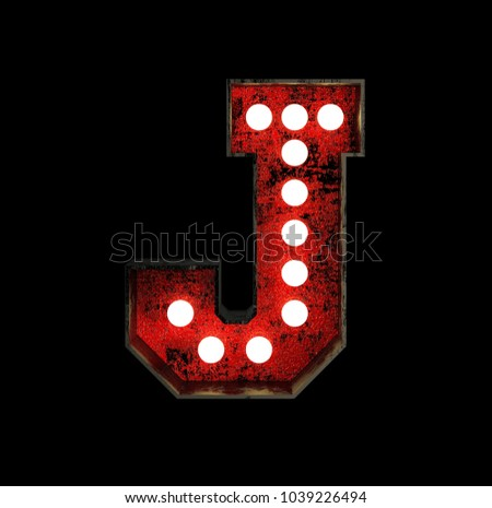 Letter J. Broadway Style Light Bulb Font made of rusty metal frame. 3d Rendering isolated on Black Background