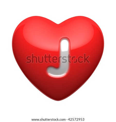 Letter J from alphabet of hearts. There is a clipping path