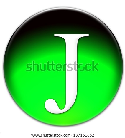 Letter J Times New Roman font type on a green glassy button isolated over white background