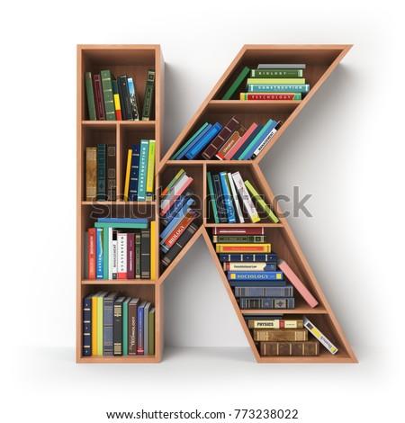 Letter K. Alphabet in the form of shelves with books isolated on white. 3d illustration Stock fotó ©