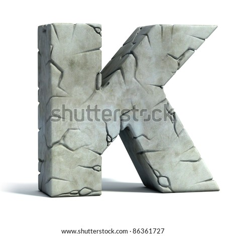 letter K cracked stone 3d font