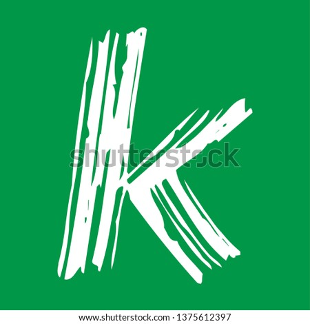 Letter k - Handwritten lower case, flat brush style, white over green background. For logotype, mark development, general design, cards, folders, advertisements and every typographic needs