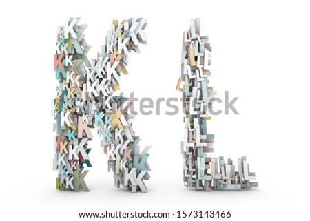 Letter K, Letter L. Letters A B made of small characters. Random multicolor letters set. English alphabet 3D rendering. Pastel colors. Creative letters set isolated on white background.