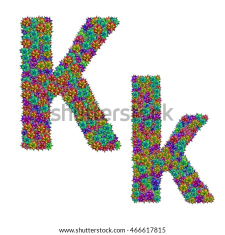 letter K made from bromeliad flowers isolated on white background with clipping path Stock fotó ©
