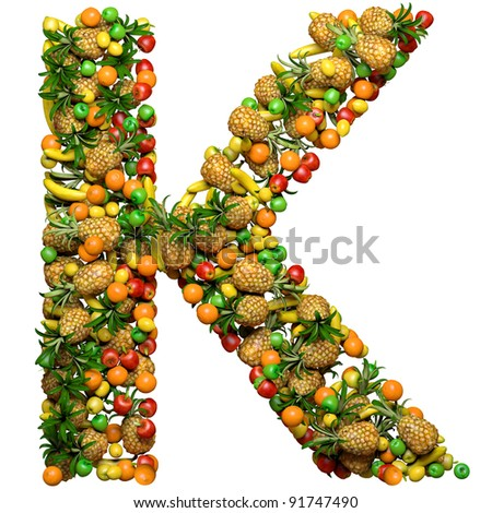 Letter - K made from 3d fruits. Isolated on a white.
