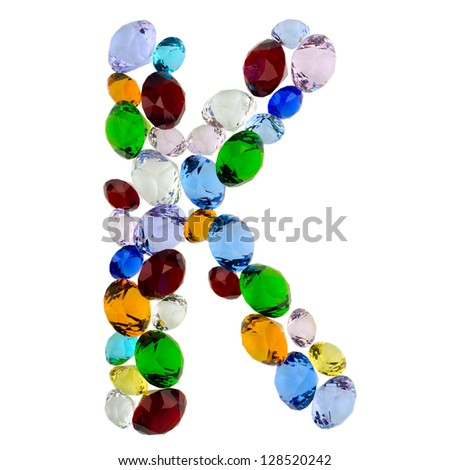 Letter K made of different colorful gems