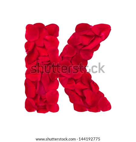 K Letter In Rose Letter K of rose petals