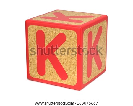 Letter K on Red Wooden Childrens Alphabet Block  Isolated on White. Educational Concept.