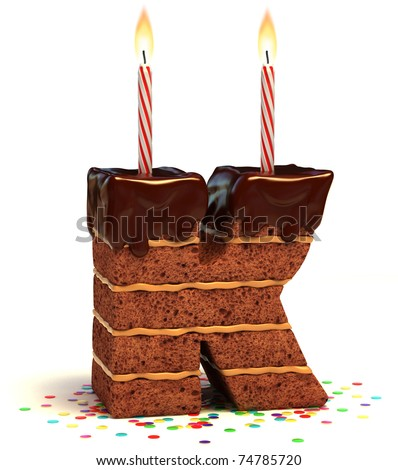 letter K shaped chocolate birthday cake with lit candle and confetti isolated over white background 3d illustration