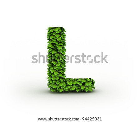 Letter L  , alphabet of green leaves isolated on white background