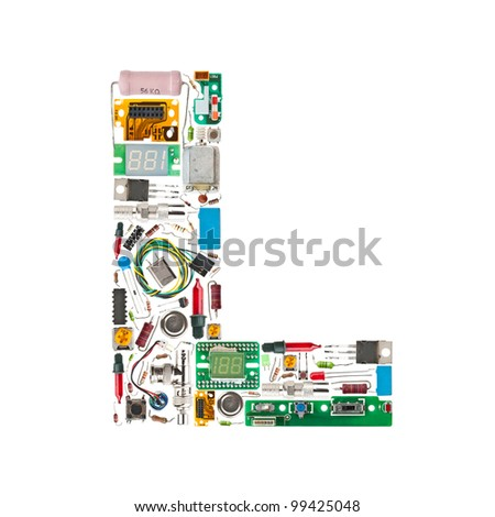Letter 'L' made of electronic components isolated in white background