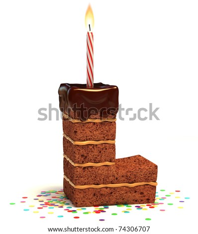 letter L shaped chocolate birthday cake with lit candle and confetti isolated over white background 3d illustration