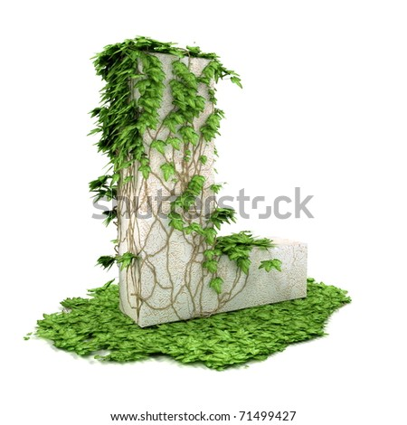 Letter L threads covered with ivy isolated on white background.