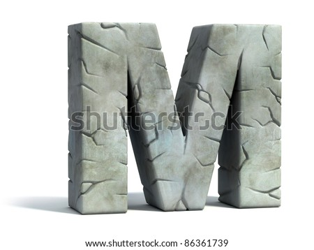 letter M cracked stone 3D font
