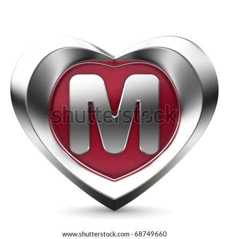 Letter M from alphabet of M Alphabet In Heart