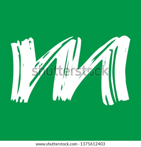 Letter m - Handwritten lower case, flat brush style, white over green background. For logotype, mark development, general design, cards, folders, advertisements and every typographic needs