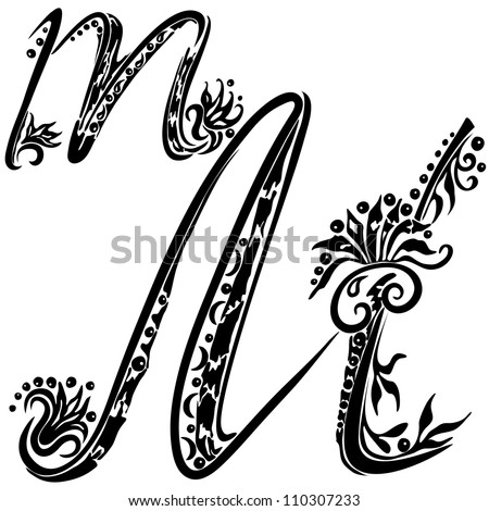 Letter M m in the style of abstract floral pattern on a white background