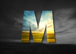 Letter M Made of landscape Typographic, Monogram