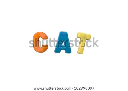 Letter magnets CAT isolated on white