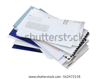letter mails pile isolated #562472158
