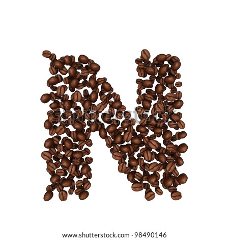 Letter N. Alphabet from coffee beans. isolated on white.