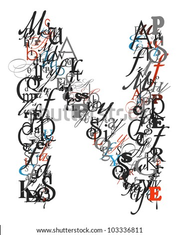 h letter in different style  stock-photo-letter-n-alphabet-f...