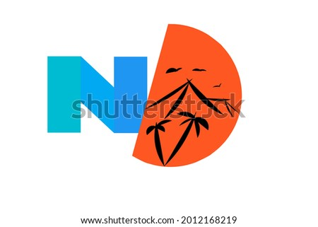 Letter N and half nature ilustration Foto stock ©