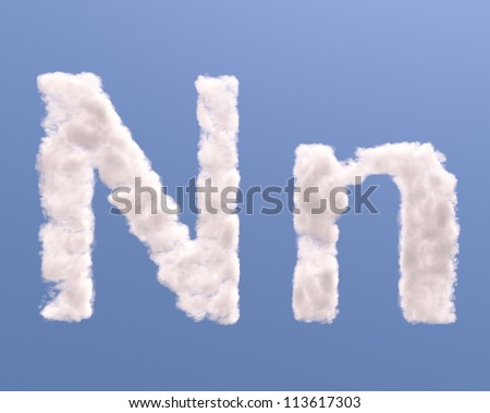 Letter N cloud shape, isolated on white background