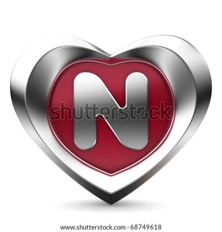 N Alphabet In Heart Letter N from alphabet of